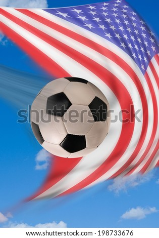 Soccor ball with American flag in background . - stock photo