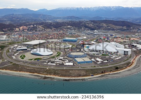 SOCHI, ADLER, RUSSIA - MAR 02, 2014: Olympic Park in Adlersky District, Krasnodar Krai - venue for the 2014 winter Olympics, top view - stock photo