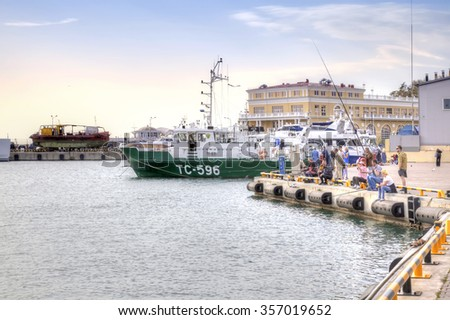 SOCHI, RUSSIA - April 29.2015: Cutters are in marine port of city