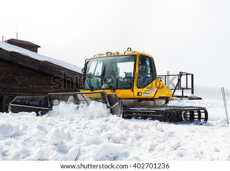 Sochi, Russia. - 1 April 2016 : Scene of snow track vehicle in ski Roza Khutor Resort in Sochi.