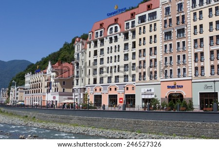 SOCHI, RUSSIA - AUGUST 14, 2014: Ski Resort Rosa Khutor in Krasnaya Polyana - popular center of skiing and snowboard, venue for the 2014 winter Olympics. - stock photo