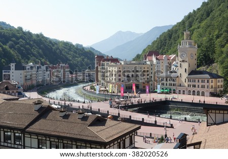 SOCHI, RUSSIA -14 AUGUST, 2014:Views of the ski resort Rosa Khutor with the cable car.  Here were all the main competitions of the Winter Olympic Games 2014. - stock photo