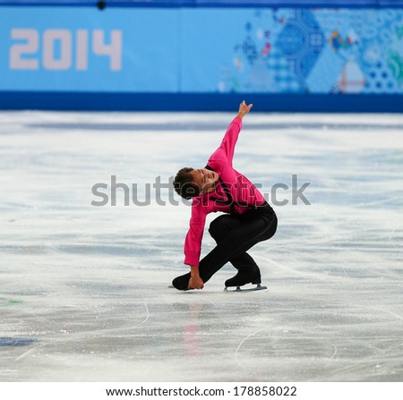 Sochi, RUSSIA - February 13, 2014: Abzal RAKIMGALIEV (KAZ) on ice during figure skating competition of men in short program at Sochi 2014 XXII Olympic Winter Games