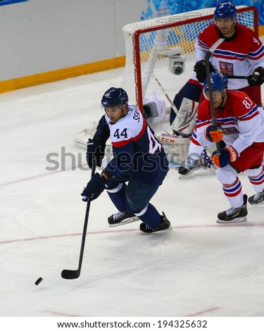 Sochi, RUSSIA - February 18, 2014: Andrej SEKERA (SVK) on ice during Ice hockey Men's Play-offs Qualifications Game vs. Czech Republic team at the Sochi 2014 Olympic Games