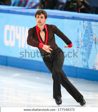 Sochi, RUSSIA - February 14, 2014: Brian JOUBERT (FRA) on ice during figure skating competition of men free skating at Sochi 2014 XXII Olympic Winter Games - stock photo
