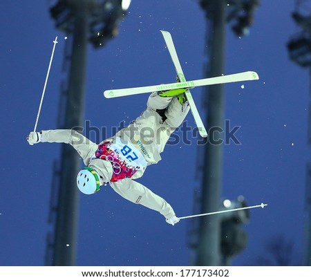 Sochi, RUSSIA - February 10, 2014: Brodie SUMMERS (AUS) at Freestyle skiing. Men's Moguls Qualification at Sochi 2014 XXII Olympic Winter Games - stock photo
