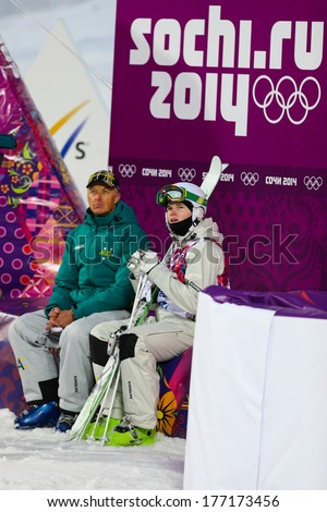 Sochi, RUSSIA - February 10, 2014: Brodie SUMMERS (AUS) at Freestyle skiing. Men's Moguls Qualification at Sochi 2014 XXII Olympic Winter Games