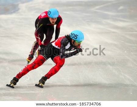 Sochi, RUSSIA - February 18, 2014: Charles HAMELIN (CAN), No205 at Men's 500 m Short Track Heats at the Sochi 2014 Olympic Games