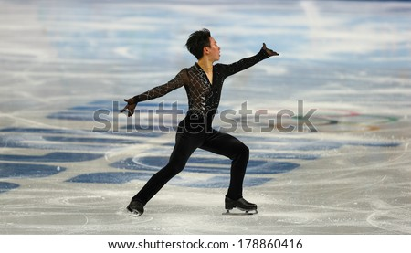 Sochi, RUSSIA - February 13, 2014: Denis TEN (KAZ) on ice during figure skating competition of men in short program at Sochi 2014 XXII Olympic Winter Games