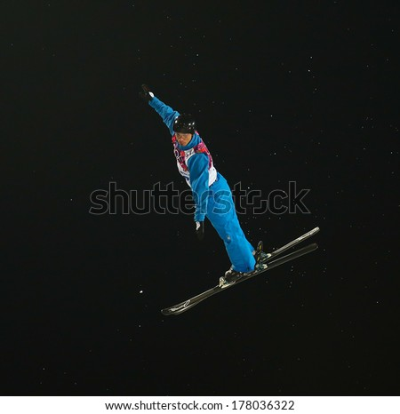 Sochi, RUSSIA - February 16, 2014: Dmitri DASHINSKI (BLR) at freestyle skiing competition in Men's Aerials Final at Sochi 2014 XXII Olympic Winter Games