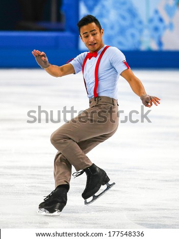 Sochi, RUSSIA - February 14, 2014: Florent AMODIO (FRA) on ice during figure skating competition of men free skating at Sochi 2014 XXII Olympic Winter Games - stock photo