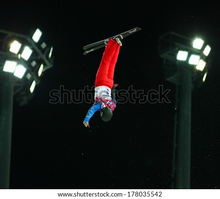Sochi, RUSSIA - February 16, 2014: Guangpu QI (CHN) at freestyle skiing competition in Men's Aerials Final at Sochi 2014 XXII Olympic Winter Games