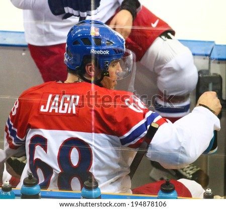 Sochi, RUSSIA - February 18, 2014: Jaromir JAGR (CZE) on ice during Ice hockey Men's Play-offs Qualifications Game vs. Slovakia team at the Sochi 2014 Olympic Games - stock photo