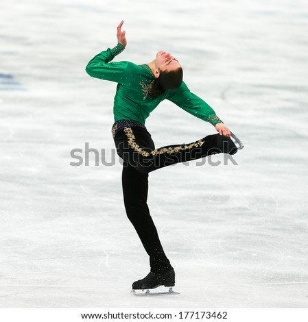 Sochi, RUSSIA - February 14, 2014: Jason BROWN (USA) on ice during figure skating competition of men free skating at Sochi 2014 XXII Olympic Winter Games