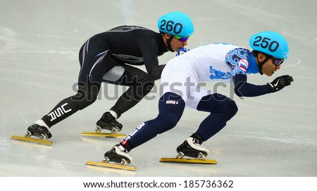 Sochi, RUSSIA - February 18, 2014: Jordan MALONE (USA), No260 at Men's 500 m Short Track Heats at the Sochi 2014 Olympic Games - stock photo