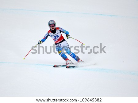 SOCHI, RUSSIA - FEBRUARY 18: Laurenne Ross competes in the FIS Alpine Ski World Cup 2011/2012 on February 18, 2012 Russia, Sochi, Rosa Khutor