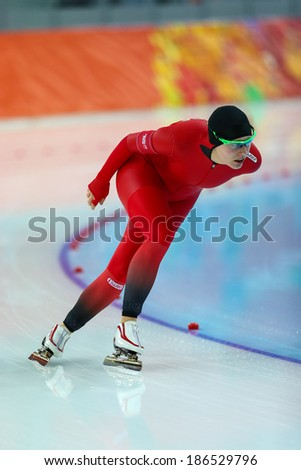 Sochi, RUSSIA - February 19, 2014: Mari HEMMER (NOR) on lane during Speed Skating. Ladies' 5000 m at the Sochi 2014 Olympic Games