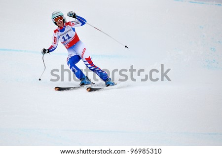 SOCHI, RUSSIA - FEBRUARY 18: Marie Marchand-Arivier competes in the FIS Alpine Ski World Cup  2011/2012 on February 18, 2012 Russia, Sochi, Rosa Khutor.