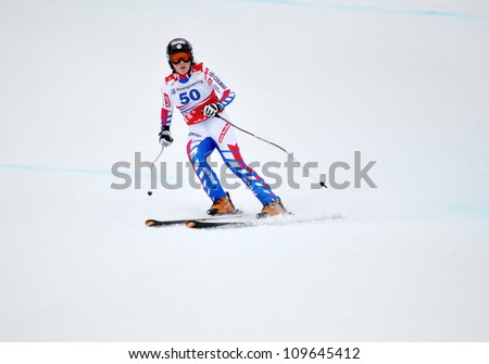 SOCHI, RUSSIA - FEBRUARY 18: Marine Gauthier competes in the FIS Alpine Ski World Cup 2011/2012 on February 18, 2012 Russia, Sochi, Rosa Khutor