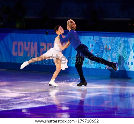 Sochi, RUSSIA - February 22, 2014: Maryl DAVIS and Charlie WHITE at Figure Skating Exhibition Gala at Sochi 2014 XXII Olympic Winter Games