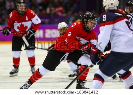 Sochi, RUSSIA - February 20, 2014: Meghan AGOSTA (CAN) at Canada
