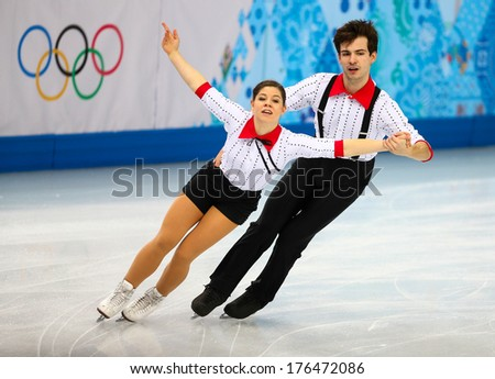 Sochi, RUSSIA - February 11, 2014: Miriam ZIEGLER and Severin KIEFER (AUT) on ice during figure skating competition of pairs in short program at Sochi 2014 XXII Olympic Winter Games - stock photo