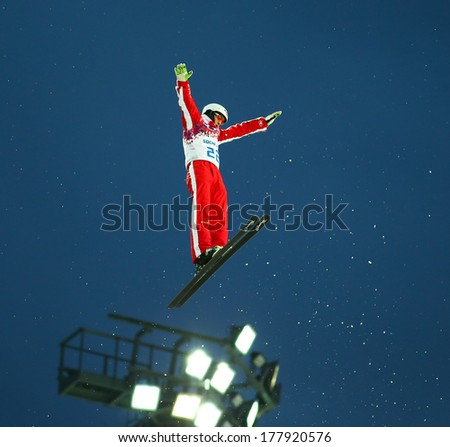 Sochi, RUSSIA - February 16, 2014: Mischa GASSER (SUI) at freestyle Skiing competition during Men's Aerials Qualification at Sochi 2014 XXII Olympic Winter Games