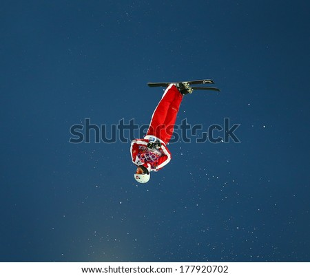 Sochi, RUSSIA - February 16, 2014: Mischa GASSER (SUI) at freestyle Skiing competition during Men's Aerials Qualification at Sochi 2014 XXII Olympic Winter Games - stock photo