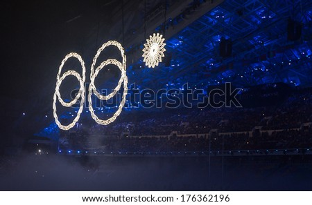 Sochi, RUSSIA - February 7, 2014: Olimpic rings at Opening ceremony of Sochi 2014 XXII Olympic Winter Games