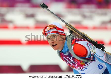 Sochi, RUSSIA - February 9, 2014: Ondrej MORAVEC (CZE) during Biathlon Men's Sprint 10 km competition at Sochi 2014 XXII Olympic Winter Games - stock photo