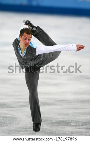 Sochi, RUSSIA - February 14, 2014: Peter LIEBERS (GER) on ice during figure skating competition of men free skating at Sochi 2014 XXII Olympic Winter Games