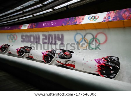 Sochi, RUSSIA - February 16, 2014: Poland 1 team at two-man bobsleigh heat at Sochi 2014 XXII Olympic Winter Games - stock photo