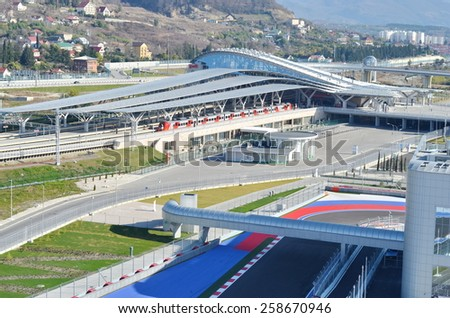 Sochi, Russia - February 6, 2015: Sochi Autodrom Formula 1 Russian Grand Prix 2014. Every motorsport fan is able to drive using his own car during track days (on the weekend) at Sochi Autodrom - stock photo