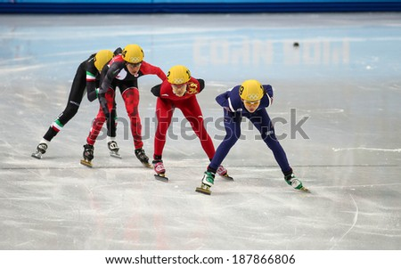 Sochi, RUSSIA - February 18, 2014: Suk Hee SHIM (KOR) No.139 at Ladies' 1000 m Short Track Heats at the Sochi 2014 Olympic Games