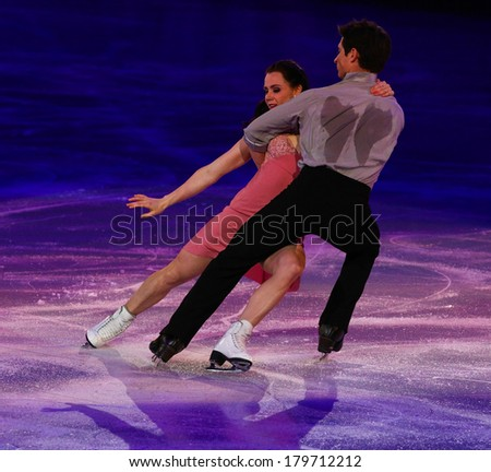 Sochi, RUSSIA - February 22, 2014: Tessa VIRTUE and Scott MOIR at Figure Skating Exhibition Gala at Sochi 2014 XXII Olympic Winter Games