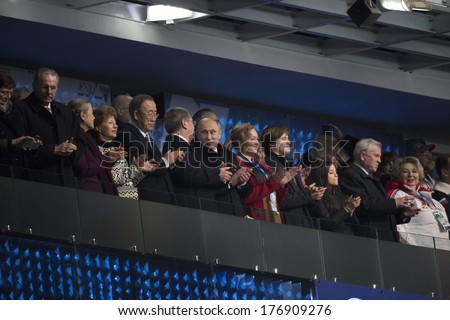 SOCHI, RUSSIA- February 7th: Russian President Vladimir Putin watches the Olympic opening ceremonies in Fisht stadium on February 7th 2014 in Sochi Russia.  - stock photo