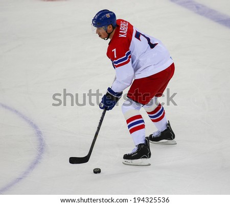 Sochi, RUSSIA - February 18, 2014: Tomas KABERLE (CZE) on ice during Ice hockey Men's Play-offs Qualifications Game vs. Slovakia team at the Sochi 2014 Olympic Games