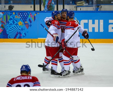 Sochi, RUSSIA - February 18, 2014: Tomas PLEKANEC (CZE) on ice during Ice hockey Men's Play-offs Qualifications Game vs. Slovakia team at the Sochi 2014 Olympic Games