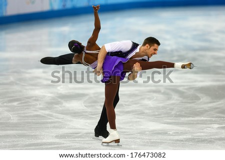 Sochi, RUSSIA - February 11, 2014: Vanessa JAMES and Morgan CIPRES (FRA) on ice during figure skating competition of pairs in short program at Sochi 2014 XXII Olympic Winter Games