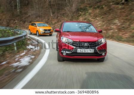 Sochi, Russia January 24, 2016: New Russian Cars LADA XRAY. Test Drive on January 24, 2016 in Sochi, Krasnaya Polyana, Rosa Khutor, Russia - stock photo
