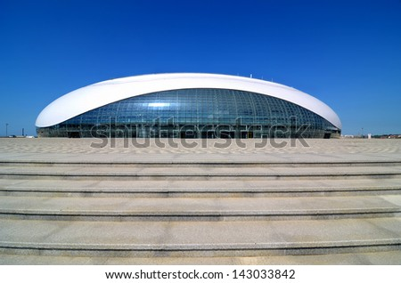 SOCHI, RUSSIA - JUNE 20: Construction of Bolshoy Ice Dome on June 20, 2013 in Sochi, Russia for Winter Olympic Games 2014 - stock photo