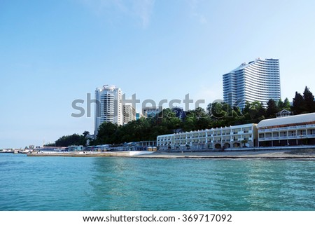 SOCHI RUSSIA  JUNE 13 2015. View to the main seaside embankment in the morning - stock photo