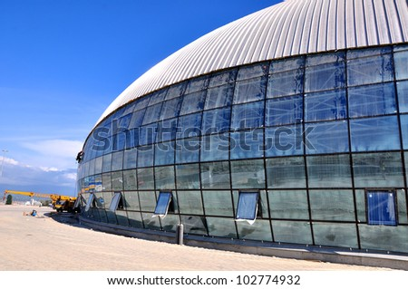 SOCHI, RUSSIA - MAY 16: Construction of ice hockey rink in the Sochi Olympic Park in May 16, 2012 in Sochi, Russia for the Winter Olympic Games 2014