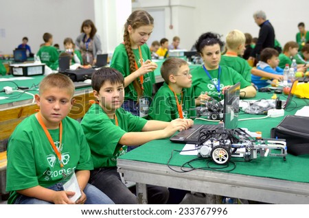 SOCHI, RUSSIA - November 21, 2014: Team Russia at the robot Olympiad in Sochi . Here there was the World Robotic Olympiad 2014 - stock photo