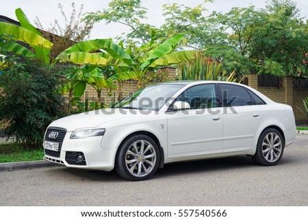 Sochi, Russia - October 11, 2016: Audi A4 parked near house in suburbia.