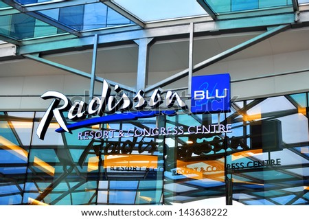 SOCHI, RUSSIA -?? SEPT 21: Radisson Blu Resort & Congress Hall on Sept 21, 2012 in Sochi, Russia.  Part of the Rezidor Hotel Group. Hotel guests will enjoy close proximity to the Winter Games in 2014.