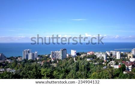 SOCHI, RUSSIA - SEPTEMBER, 2014: Cityscape of Sochi and black see - stock photo