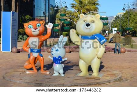 SOCHI, RUSSUA - JAN 15, 2013: Mascots of the Olympic Games: Bunny, Bear and Leopard - on the street Navaginskaya  - stock photo