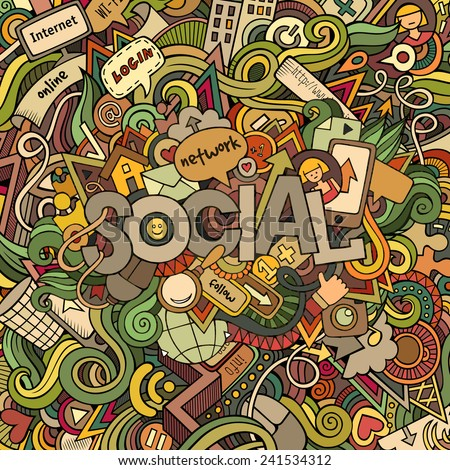 Social hand lettering and doodles elements background - stock photo