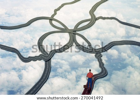 Social management and career manager business concept. Person standing on group of connected roads that are shaped as human face heads as symbol of public relations and managing people - stock photo